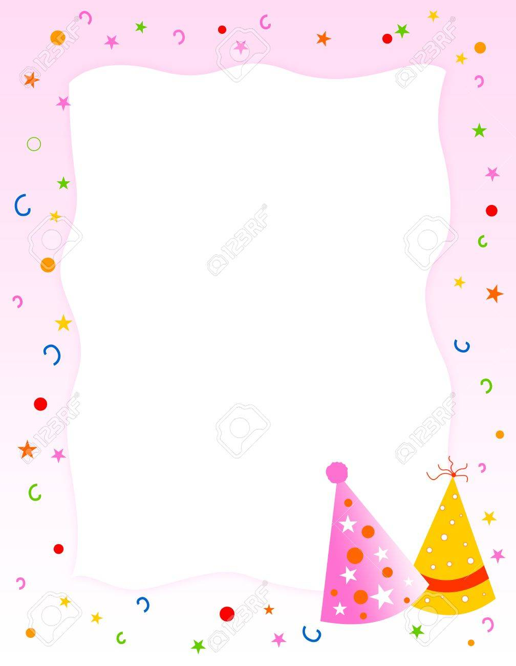 Birthday Party Invitation / Greeting Card. Cute Pink Background ...