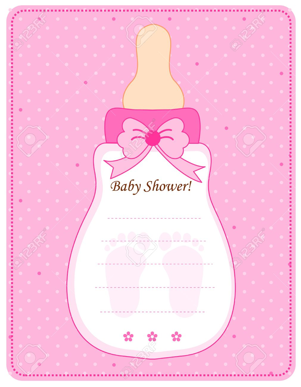 cute feeding bottle shaped baby shower invitation card template in pink for baby girls stock photo