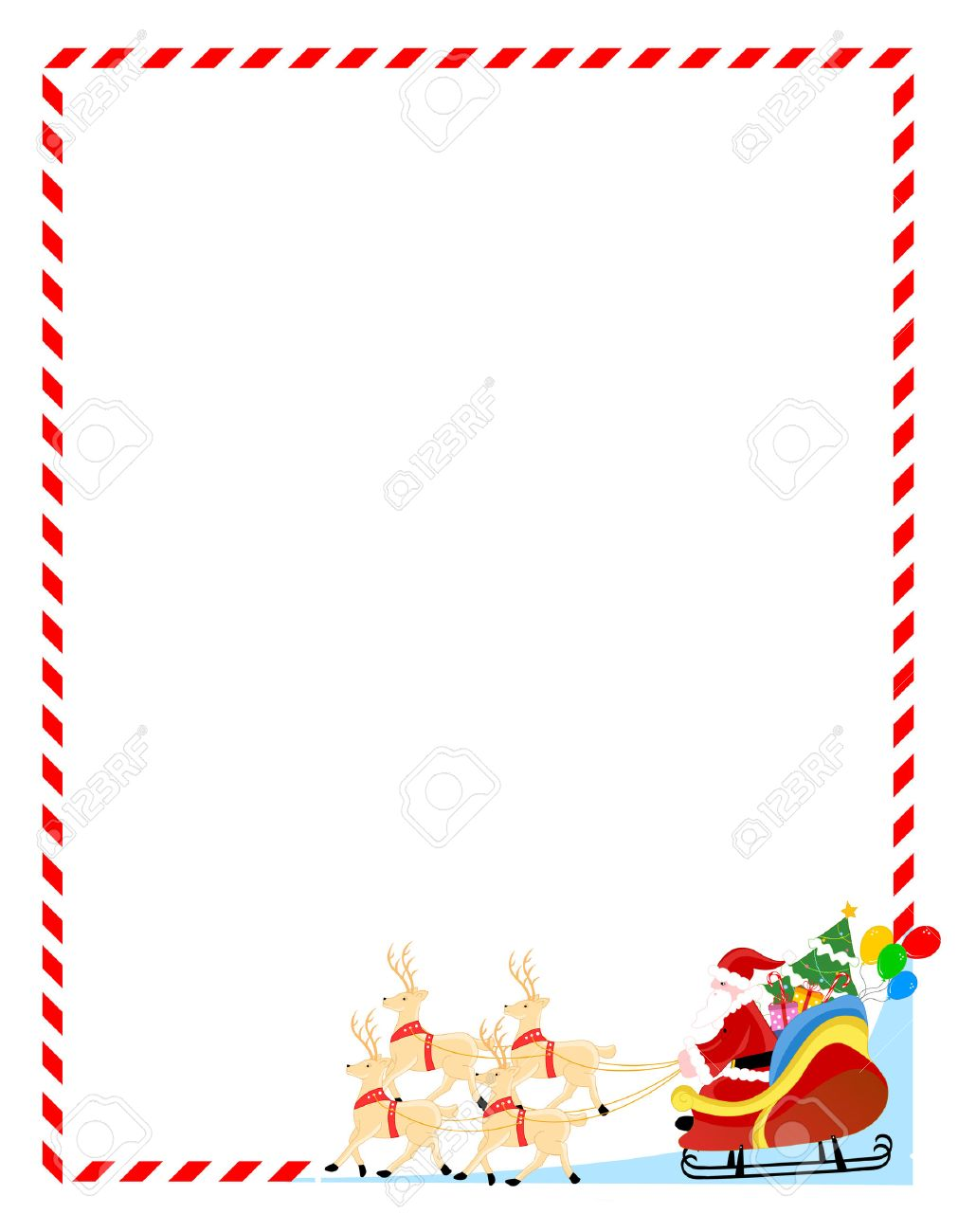 Christmas Frame.Santa Claus With His Sledge And Toys Christmas Frame Background