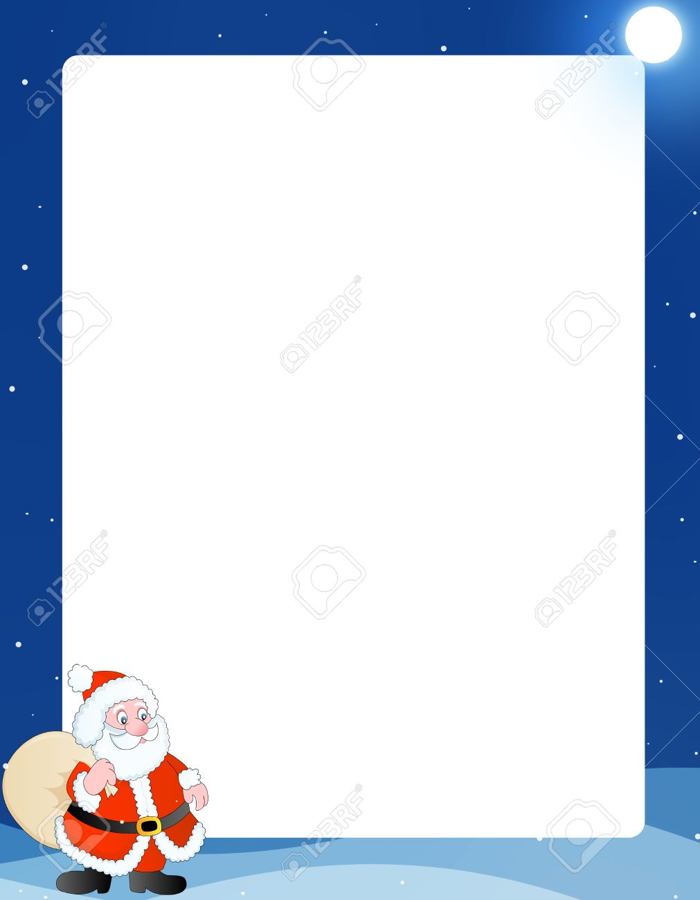 Beautiful Blue Winter Frame /border With A Cute Santa Claus With ...