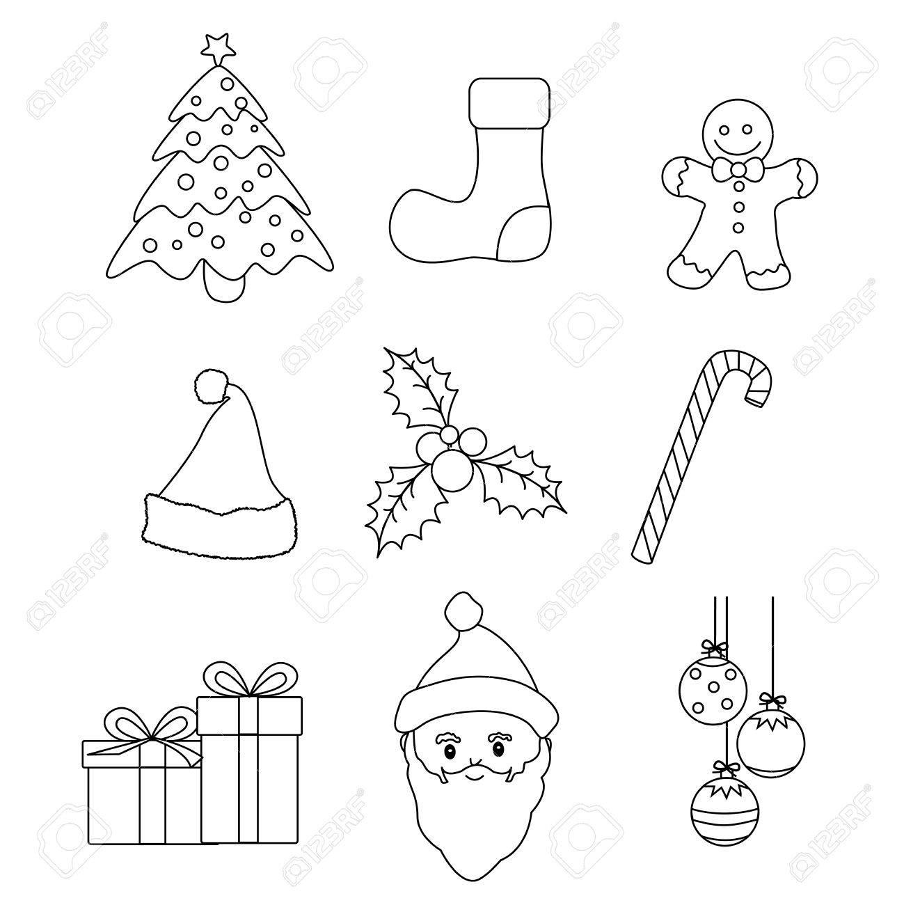 Weihnachten Grafik Lineart Kollektion Für Kinder Malbuch / Oder ...