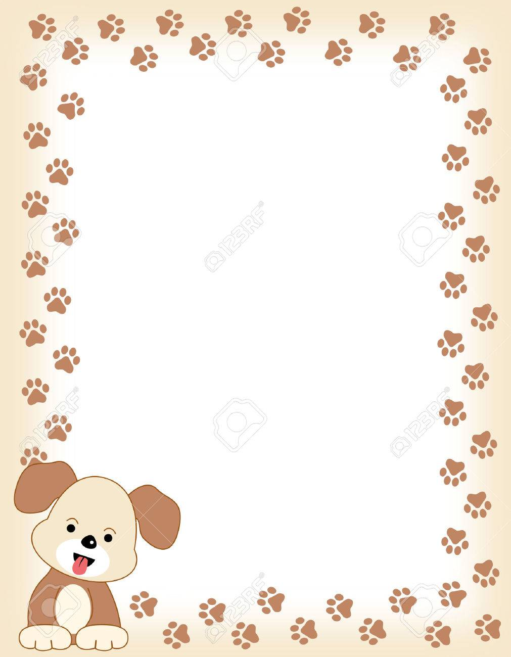 Brown Color Dog Paw Print Border Frame With A Cute Dog In Left