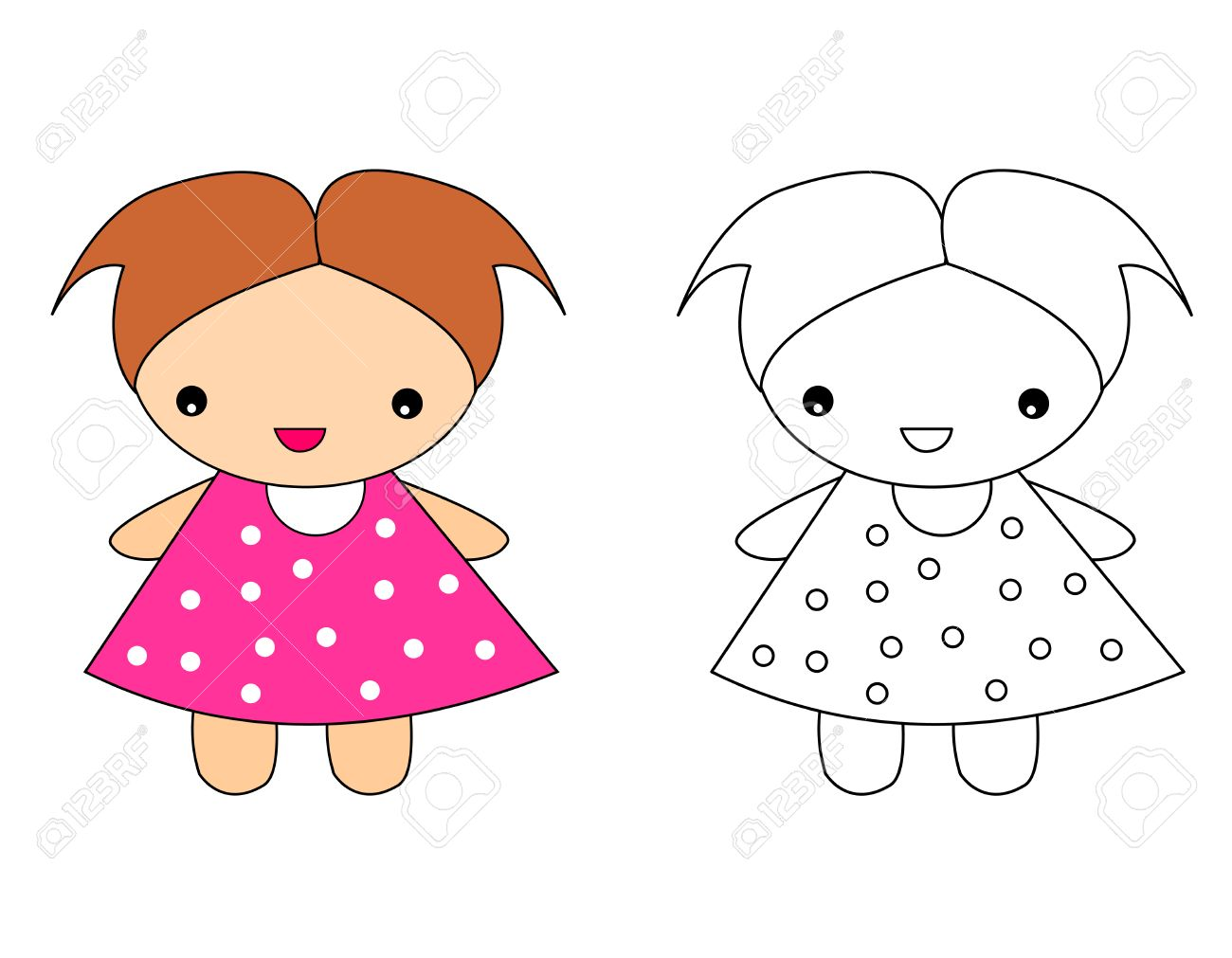 Cute Doll Toy Illustration For Pre School Kids Coloring Activity With Sample Colored Image Stock