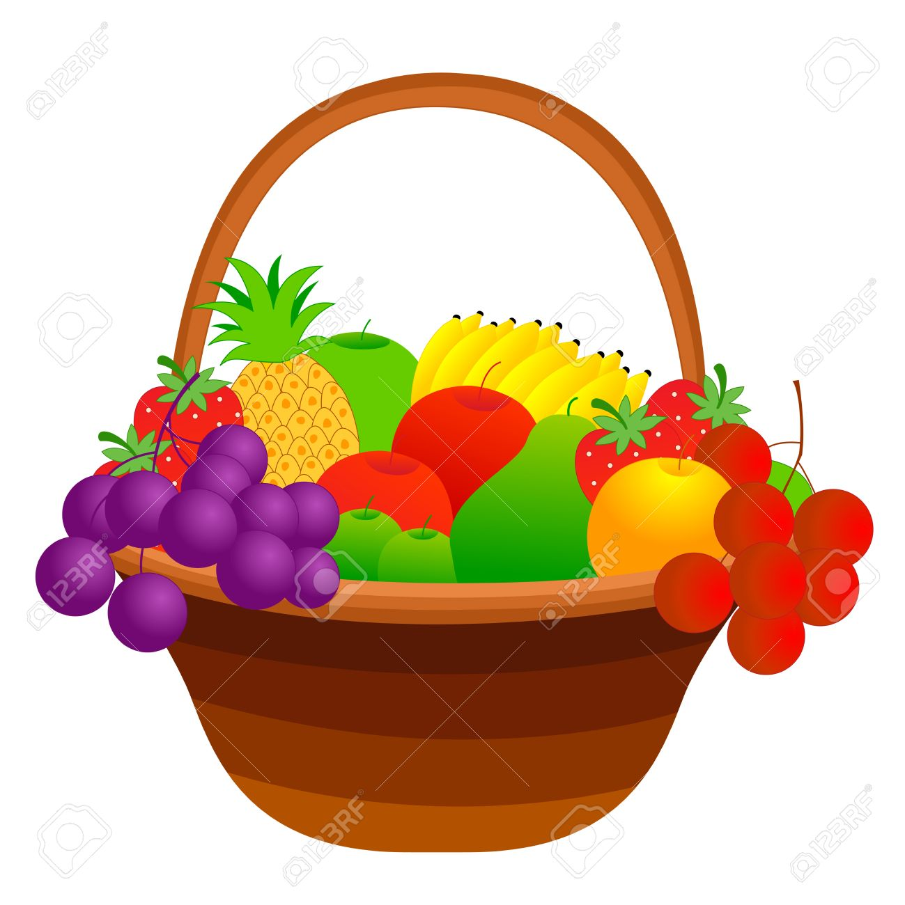 illustration of a fruit basket with mixed fruits including apple rh 123rf com fruit basket clipart black and white empty fruit basket clipart black and white