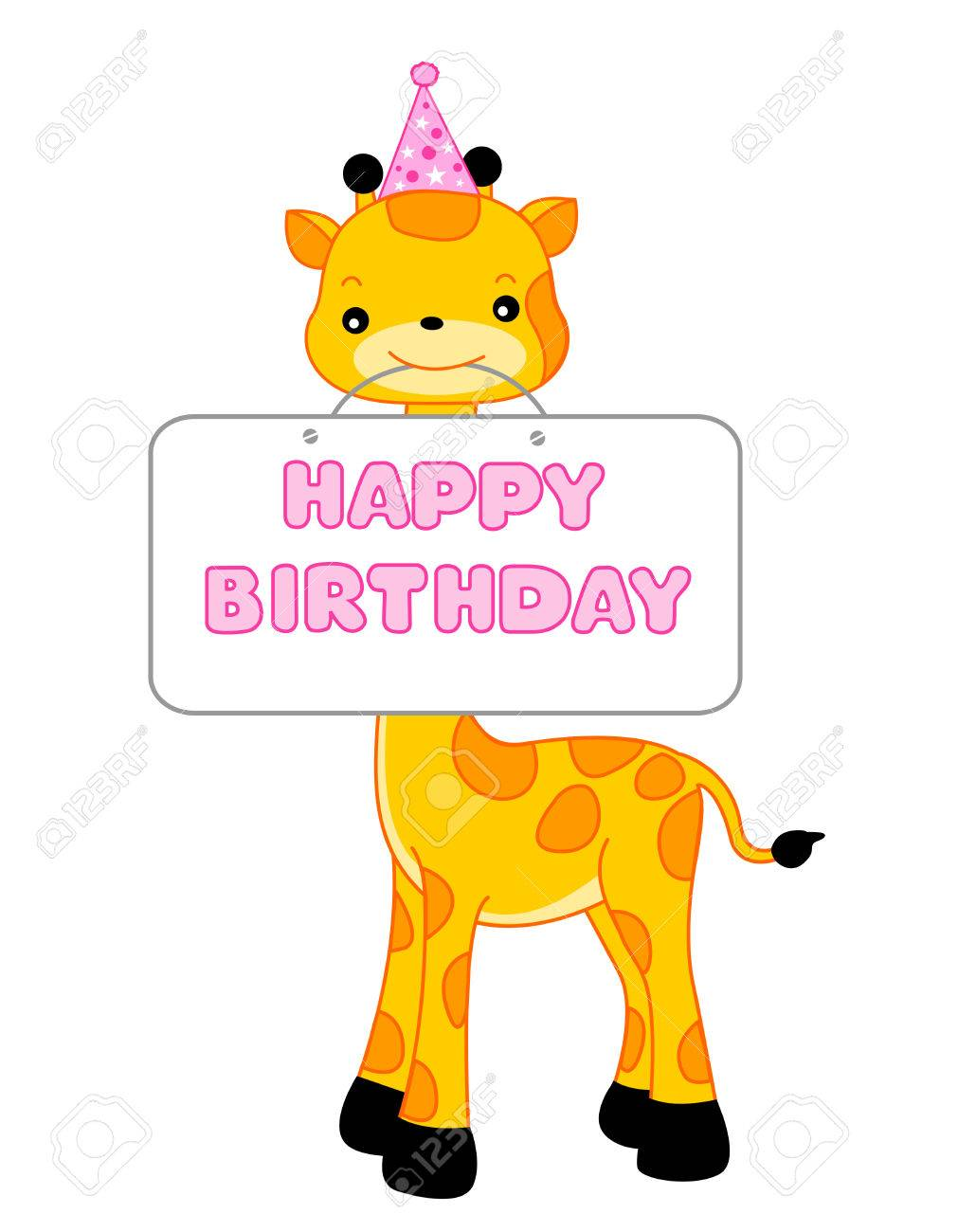 Cute Giraffe Wearing A Party Hat And Holding Happy Birthday Notice Birthhday Card Specially