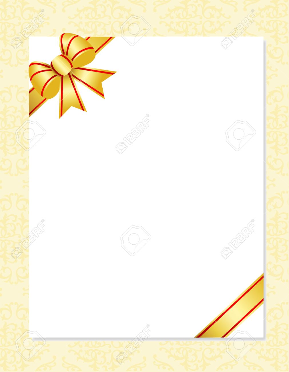 Invitation Card Background With Gold Ribbon Bow And Ornamental
