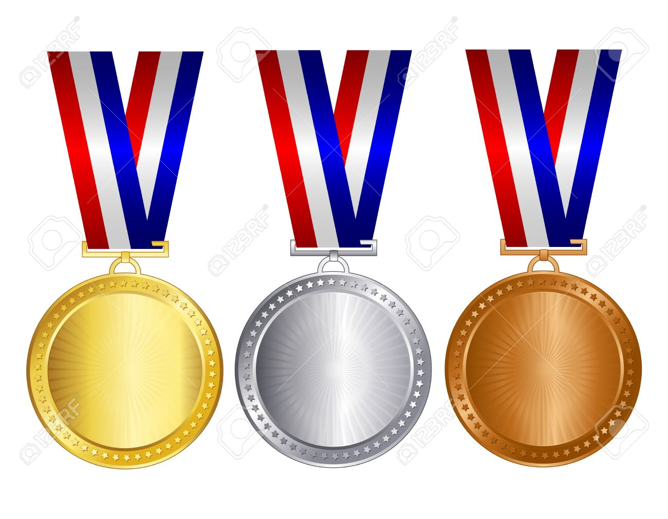 62c673d53f61 Gold silver and bronze medals with red blue and silver   white ribbons and  empty space