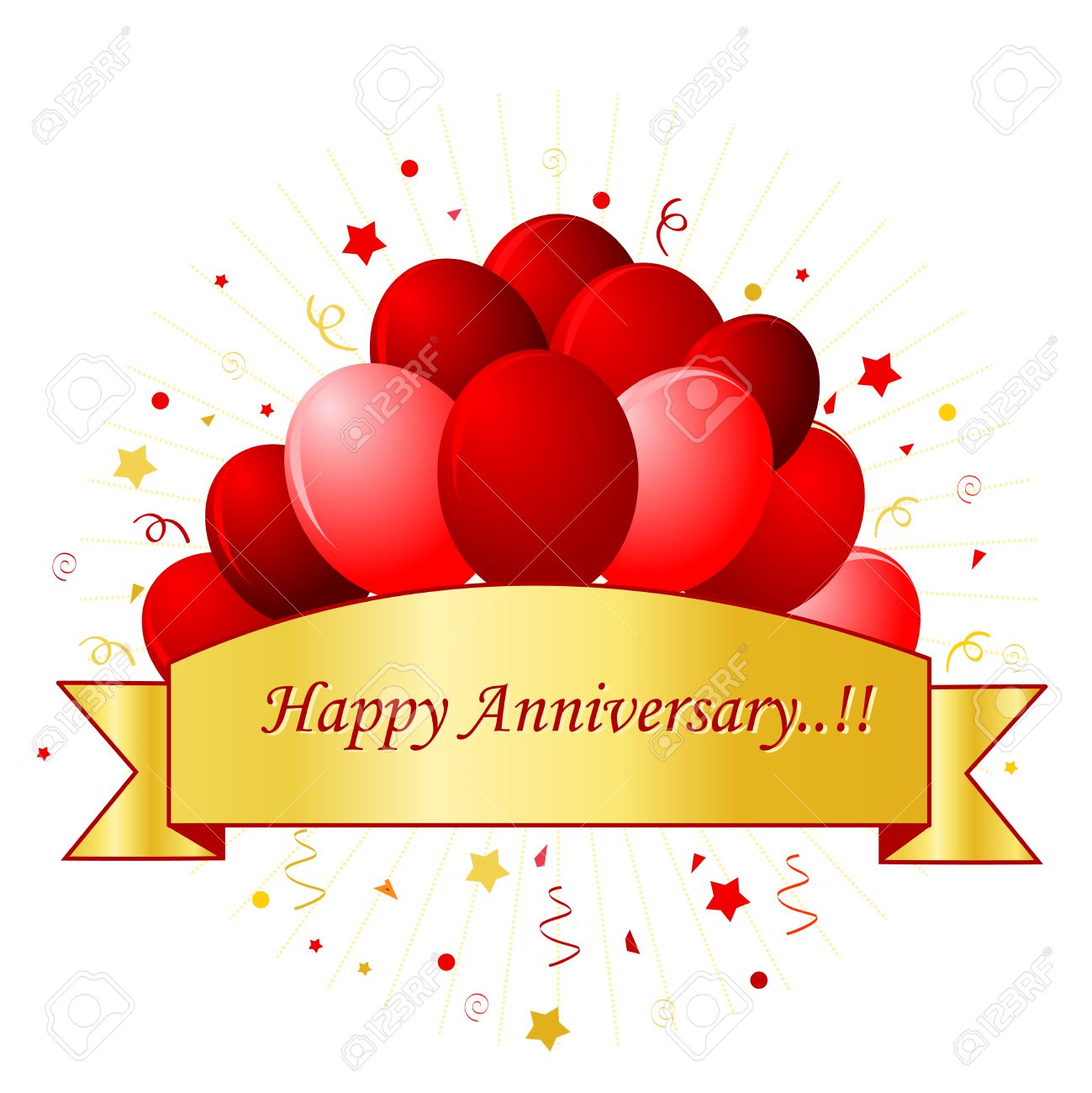 happy anniversary card in red letters with beautiful red balloons and confetti on white background with
