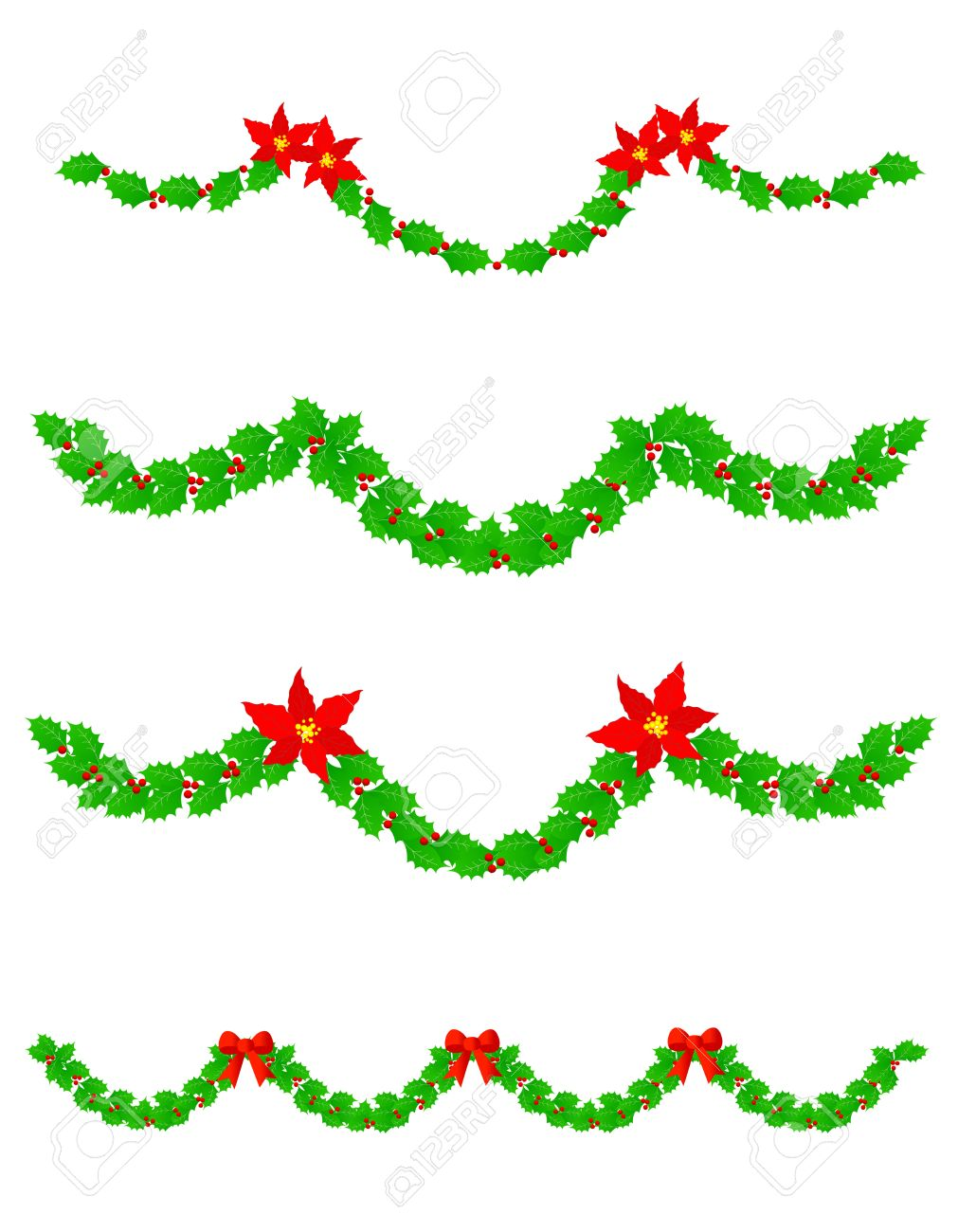 Colección De Guirnaldas De Navidad De Colores Con Flores De ...