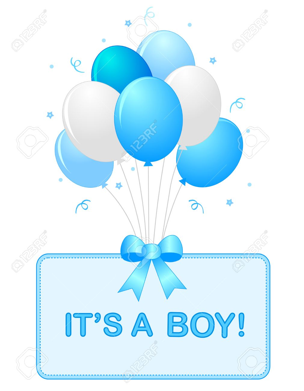 cute baby boy arrival card text with blue and white balloons
