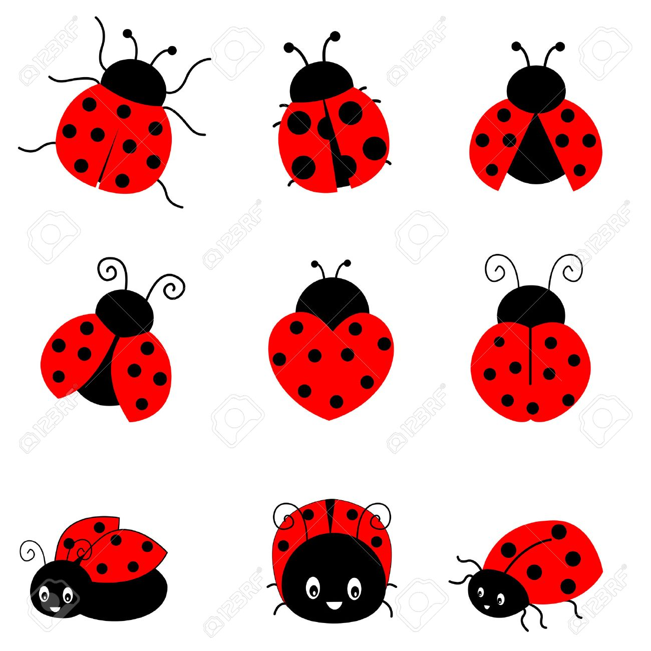 cute colorful ladybugs clipart collection isolated on white rh 123rf com Cartoon Fly Cartoon Bee