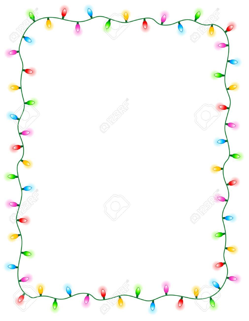 Christmas Light Border.Colorful Glowing Christmas Lights Border Frame Colorful Holiday