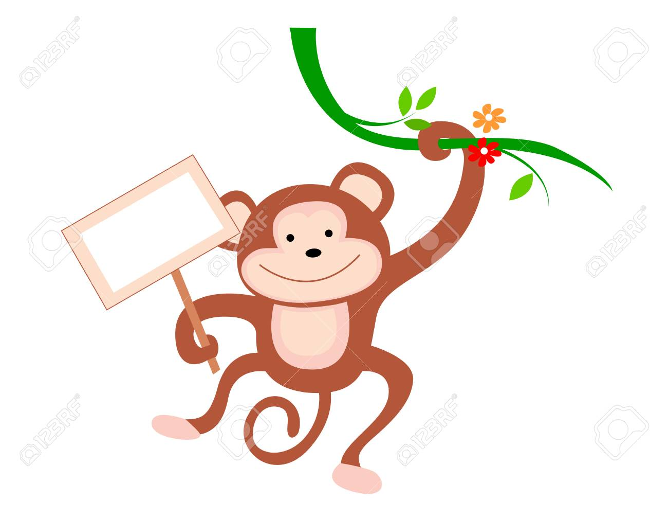 cute little monkey hanging from a branch with notice board