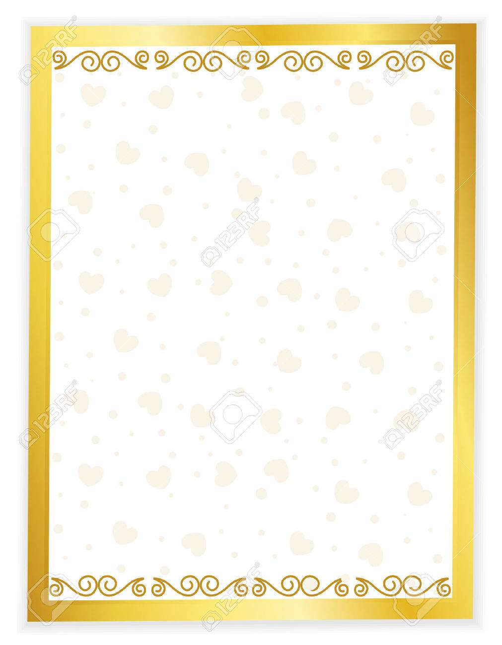 Gold Framed Wedding Invitation Background With Hearts Seamless