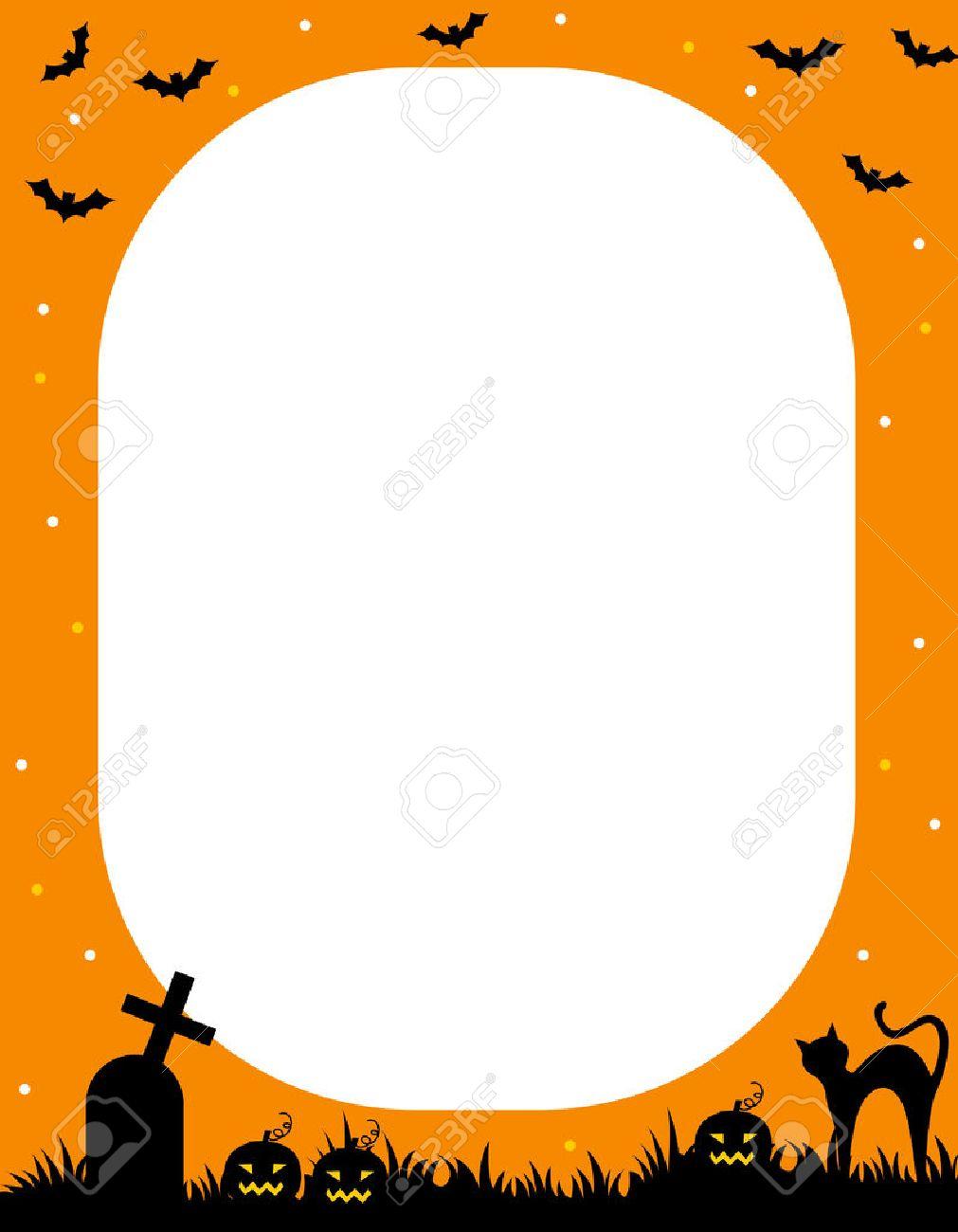 illustration of orange and black halloween frame / border royalty
