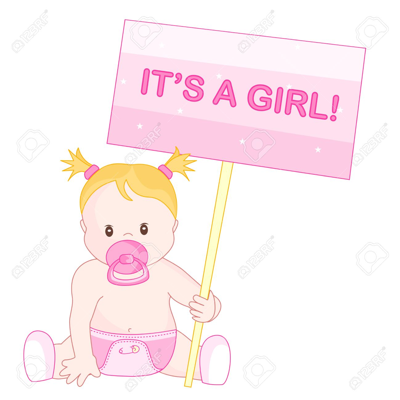 Baby Announcement Clipart With A Cute Little Baby Girl Sitting – Announcement of Baby Girl