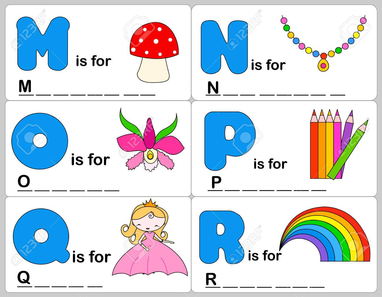 Kids Words Learning Game / Worksheets With Simple Colorful ...
