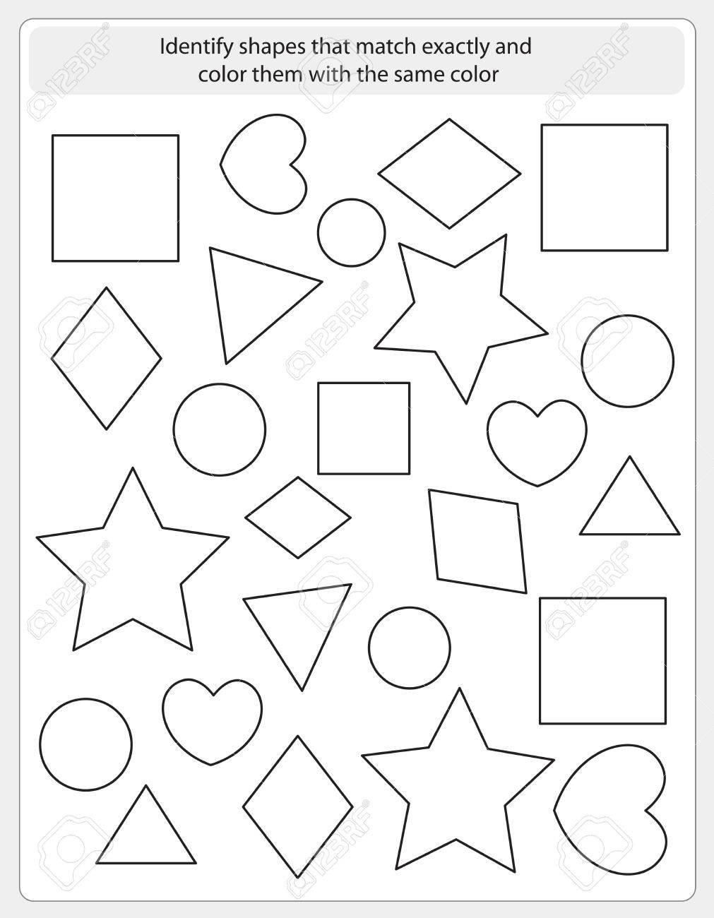 Kids Worksheet With Shapes To Match And Color Same Shape Royalty ...