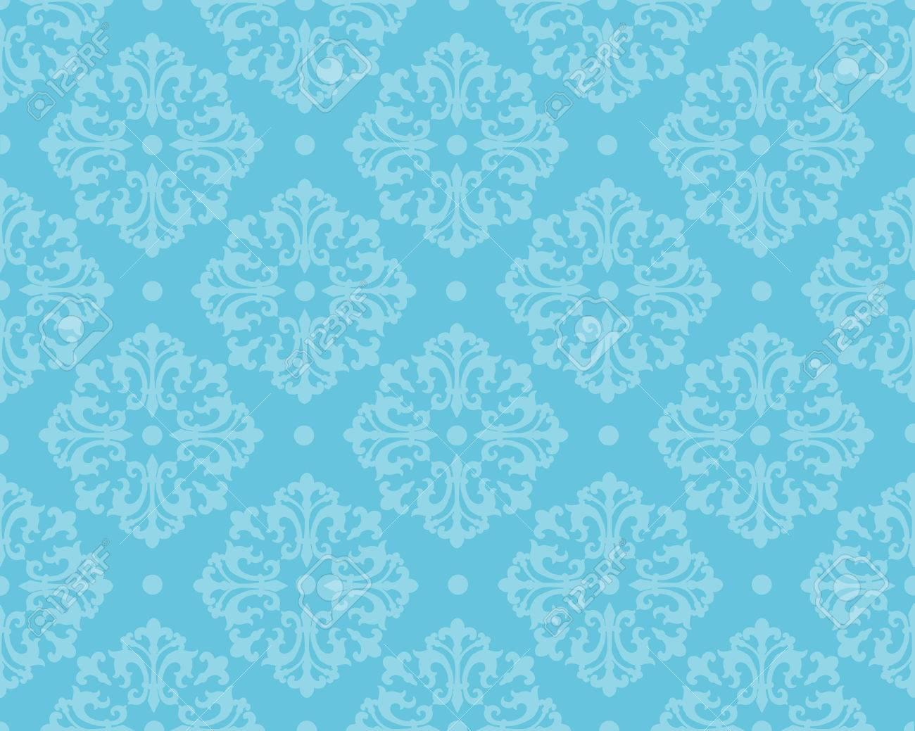 Elegant Blue Damask Pattern Background Wallpaper