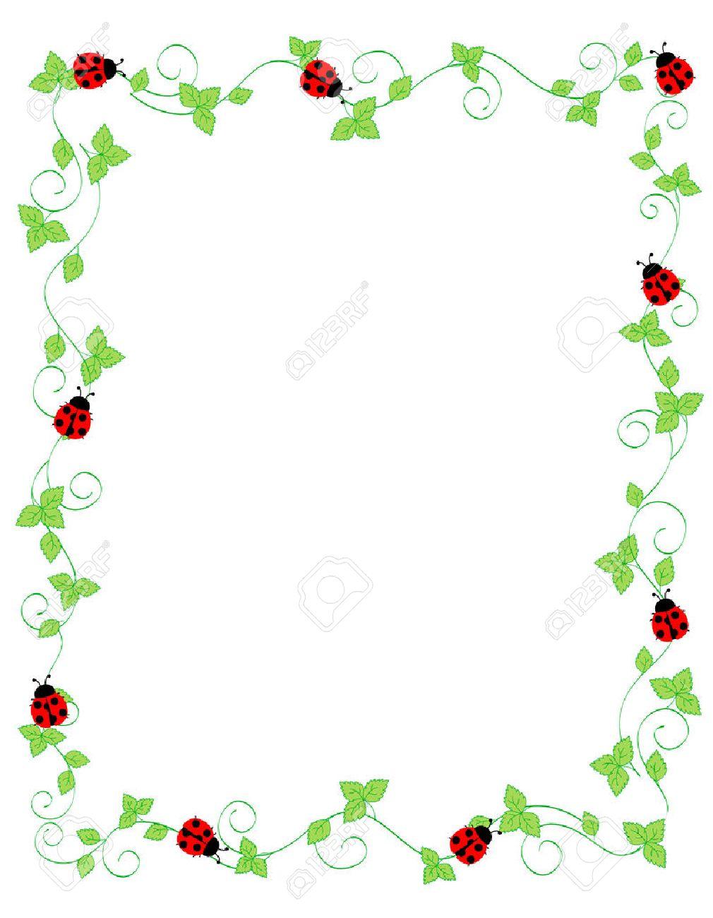 Cute Ladybugs On Green Ivy Frame Border Isolated On White