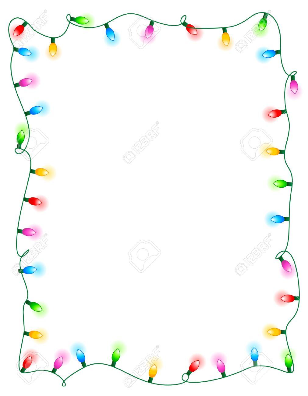 カラフルな輝くクリスマス ライト枠/フレームします。カラフルな休日