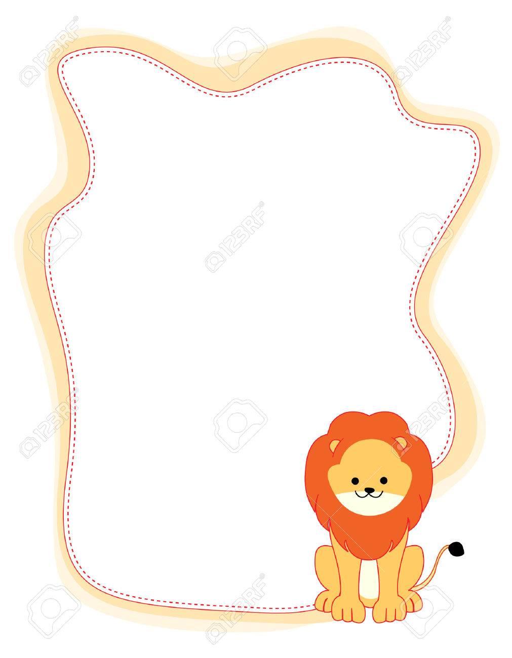 かわいい小さなライオン国境のイラスト/フレーム ロイヤリティフリー