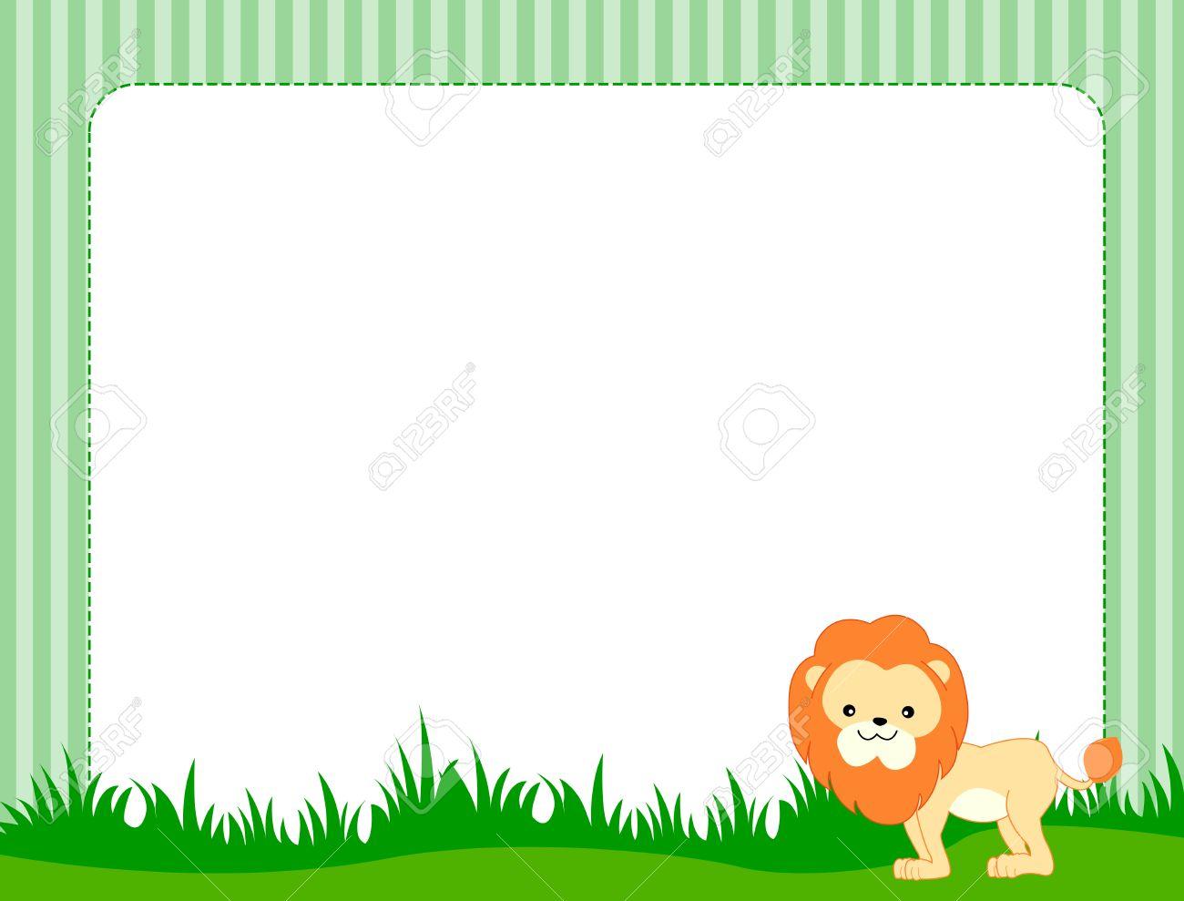 illustration of a cute little lion on grass border frame