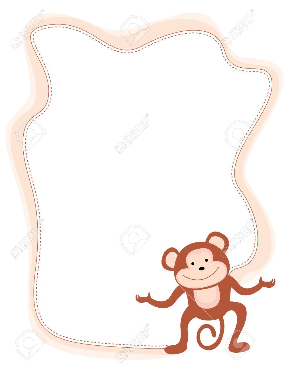monkey frame with a cute little monkey on corner stock vector 38748037 - Monkey Picture Frame