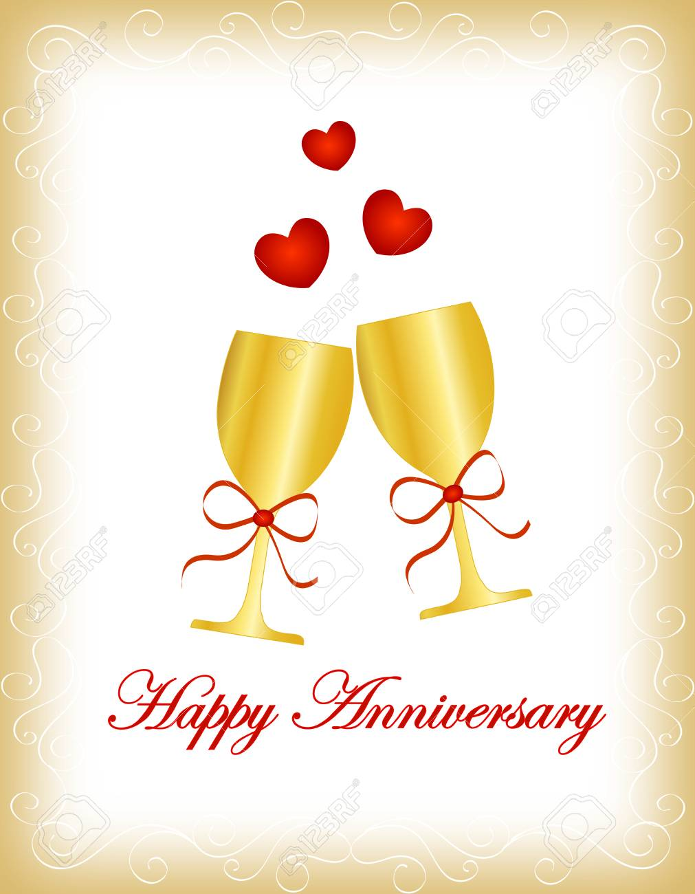 Happy Anniversary Greeting Card With Two Golden Wine Glass With