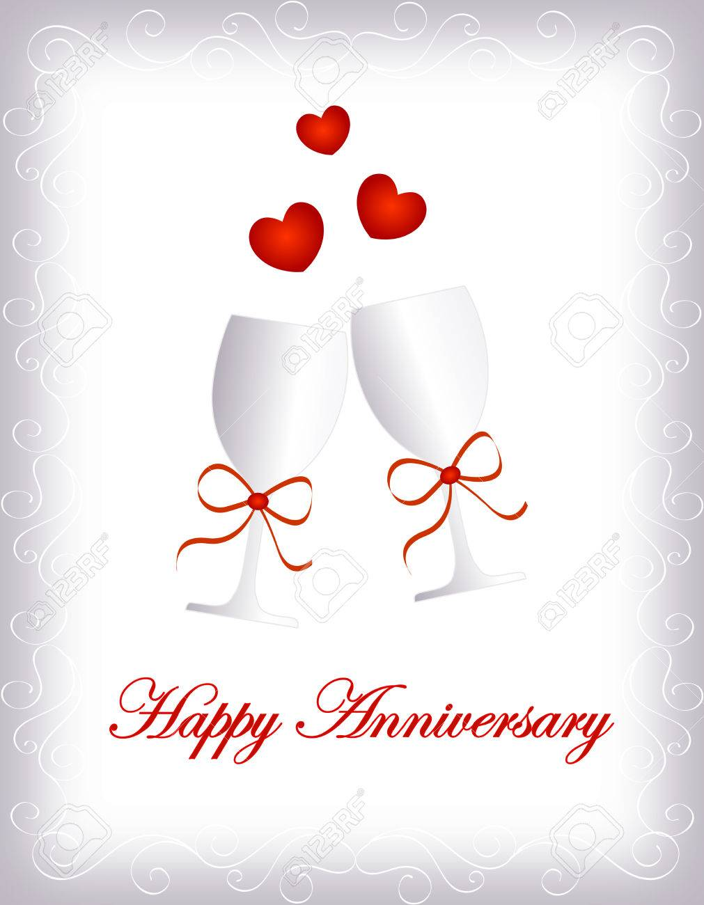 Happy Anniversary Greeting Card With Two Silver Wine Glass With