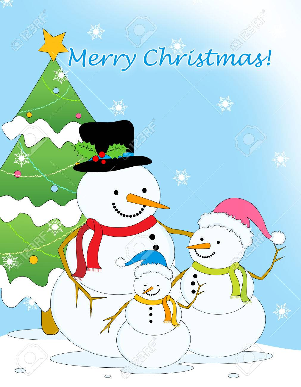 Merry christmas greeting card with cute little snowman family merry christmas greeting card with cute little snowman family and christmas tree on falling snow background kristyandbryce Choice Image