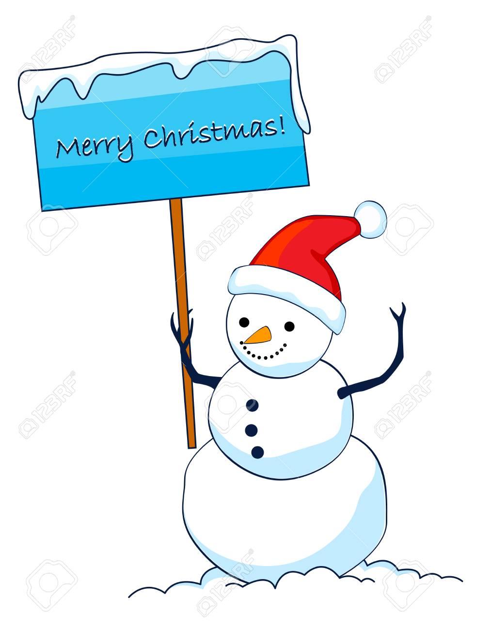 メリー クリスマス サイン ボードを押しサン ahat を着てかわいい