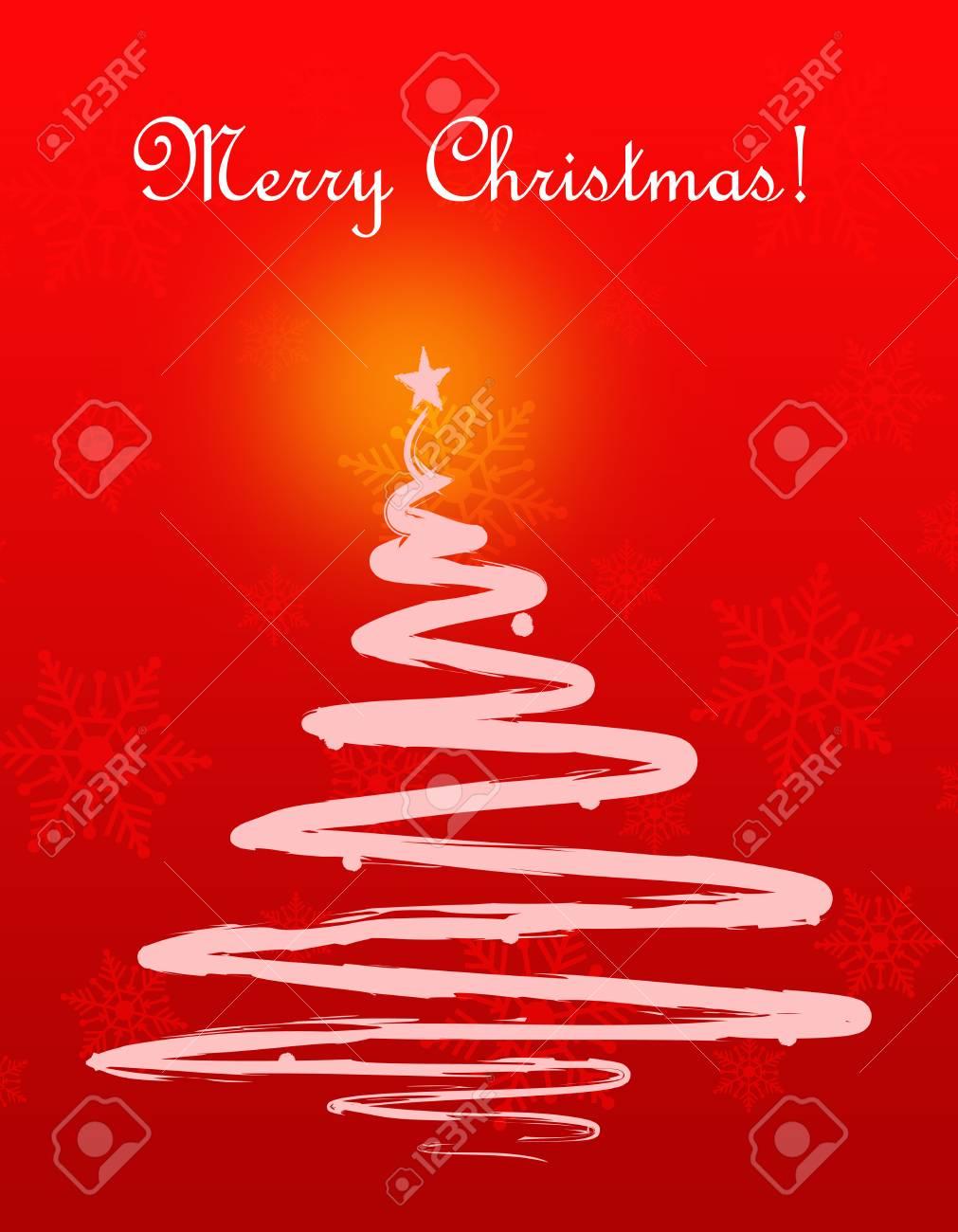 Foto Con Auguri Di Buon Natale.Cartolina D Auguri Di Buon Natale Con La Siluetta Dell Albero Di Natale Sulla Priorita Bassa Di Caduta Dei Fiocchi Di Neve