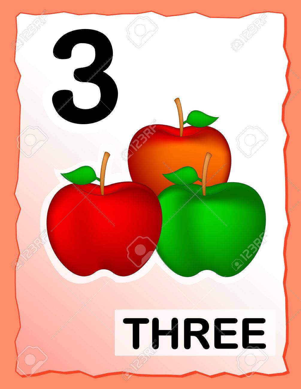 Worksheet Kids Number Learning kids learning material printable number three card with an illustration of apples stock vector