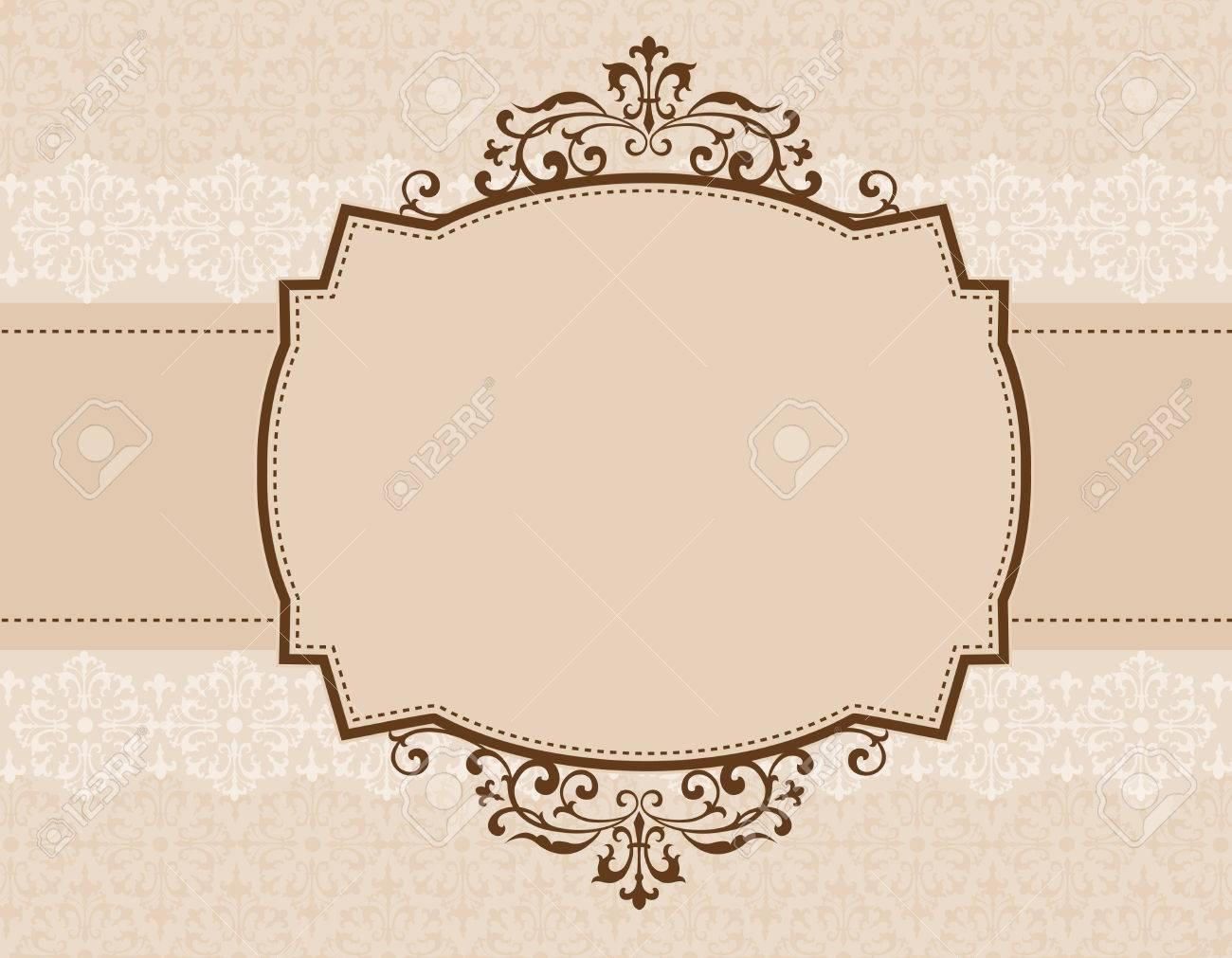 Brown Ornamental Pattern Border / Frame With Seamless Damask ...