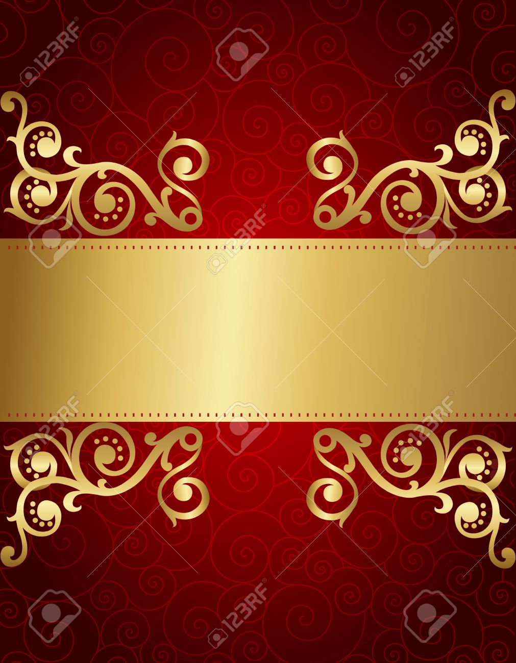 Elegant Red And Golden Decorative Background For Wedding / Party ...