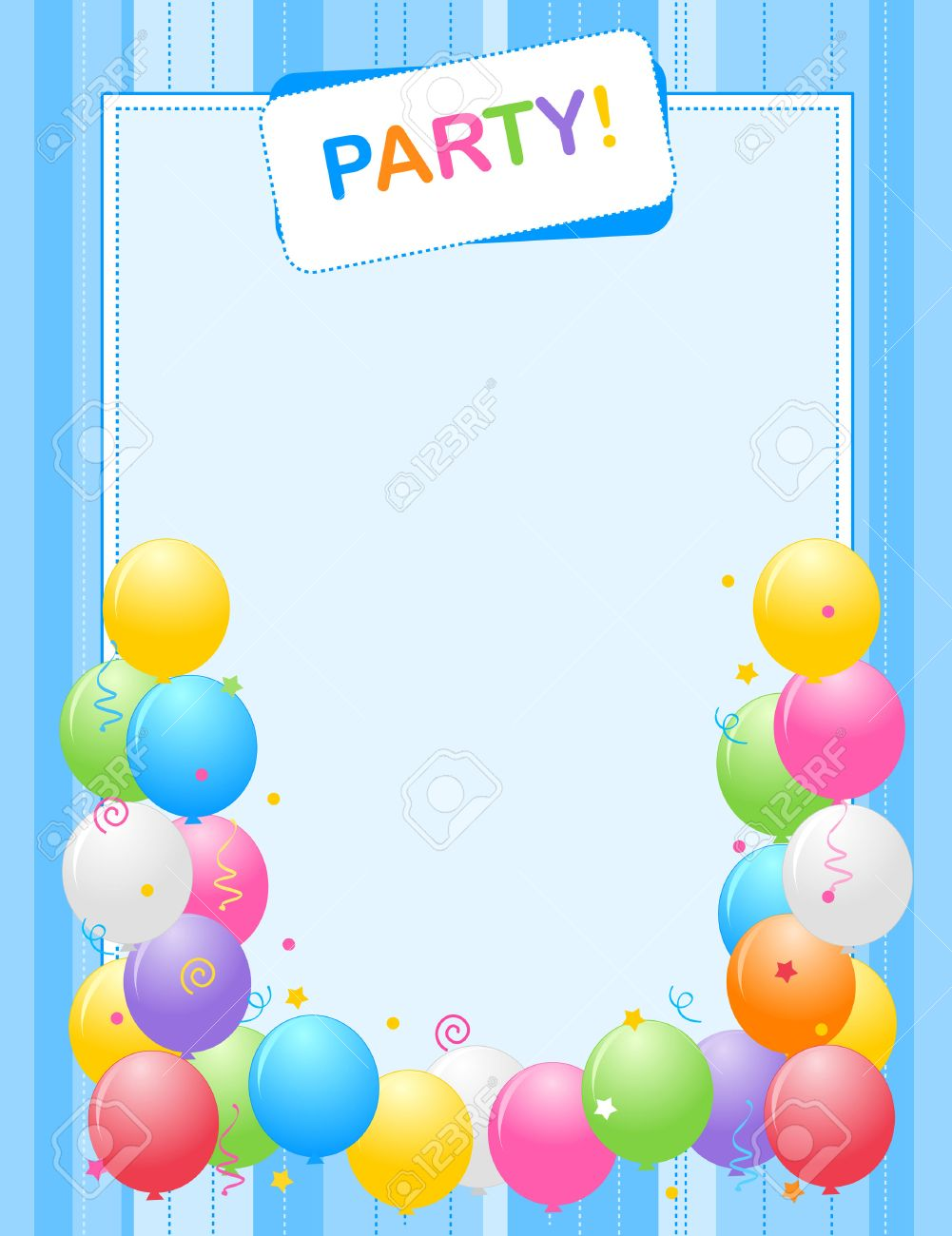Colorful Balloons Border Frame Illustration For Birthday Cards