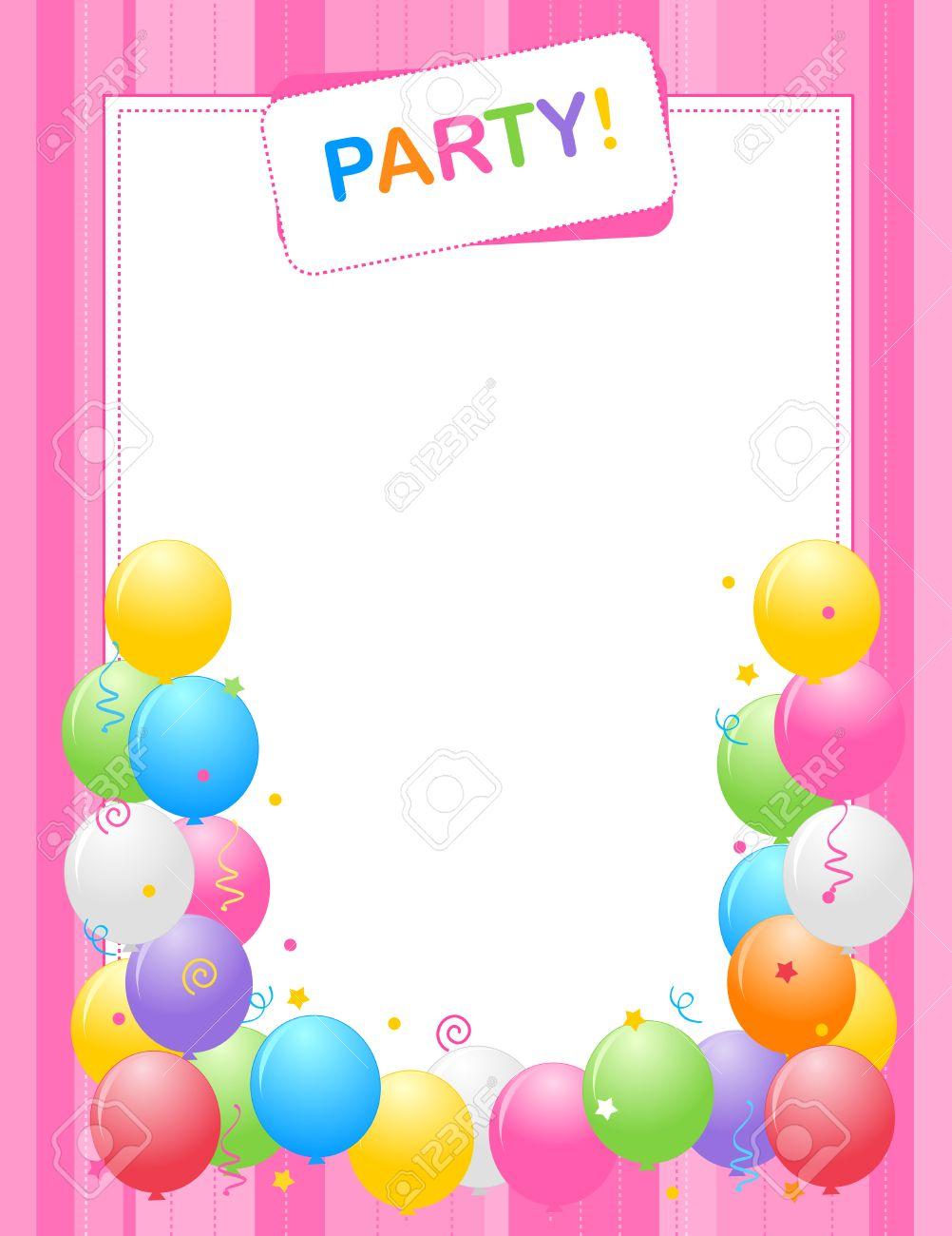 Globos De Colores Frontera Ilustración Marco Para Las Tarjetas De Cumpleaños Y Fondos Invitación De La Fiesta Pink Uno Especialmente Para Las Niñas