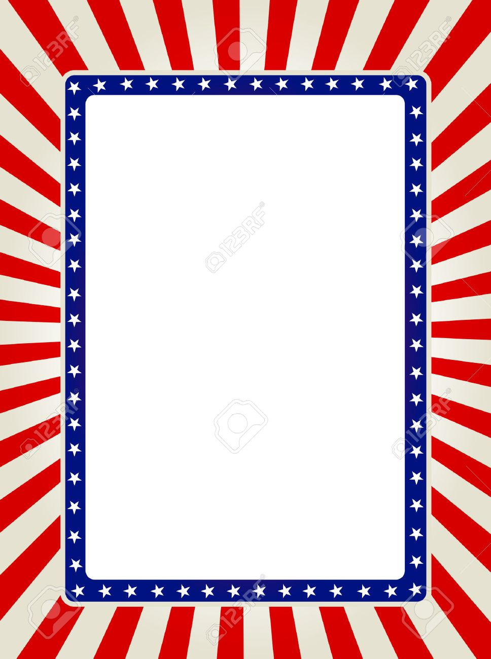 Blue And Red Patriotic Stars And Stripes Page Border / Frame ...