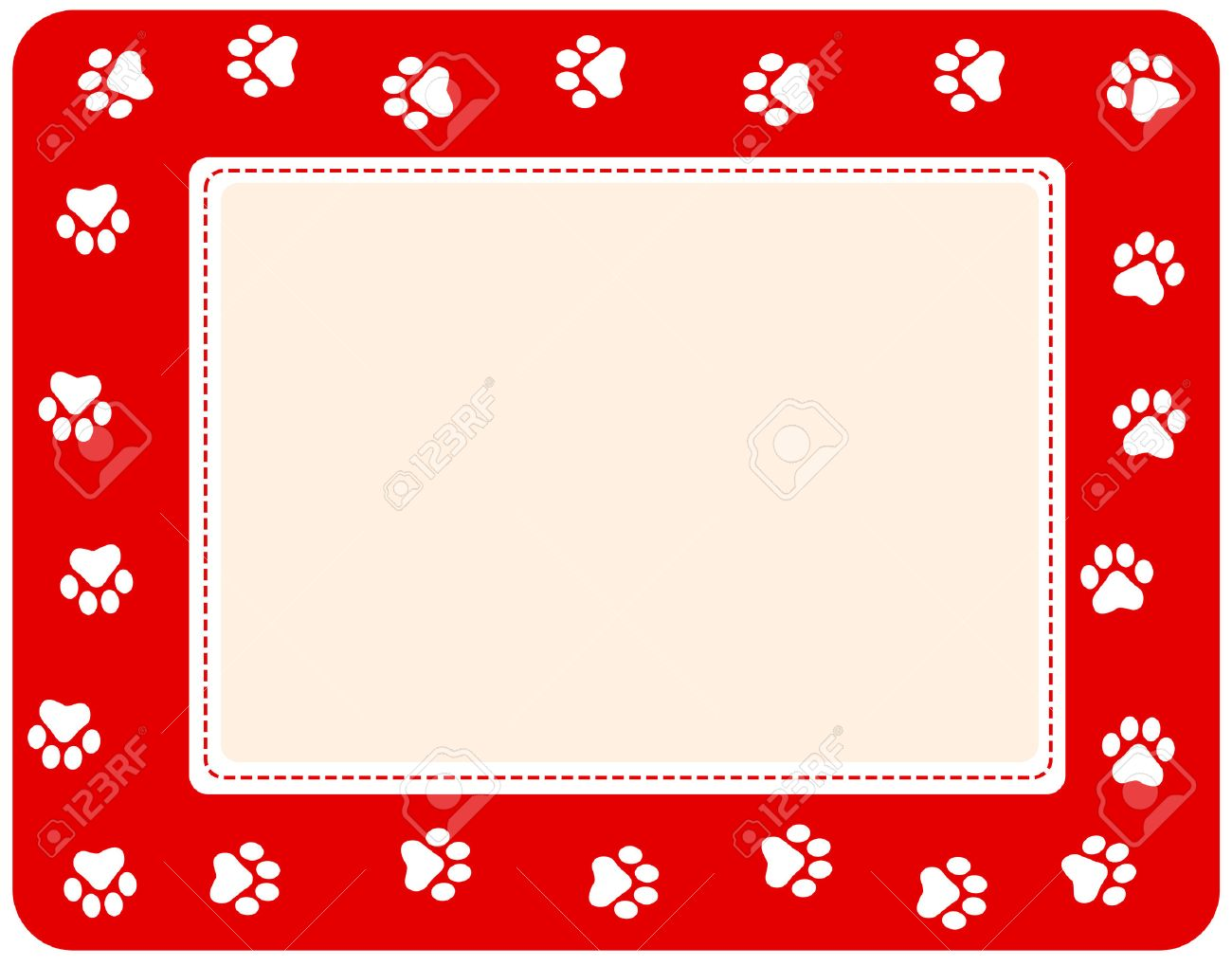 Cute Pet Paw Print Border On White Background Royalty Free Cliparts ...