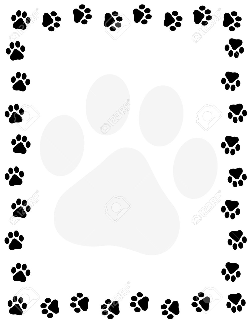dog pawprint border frame on white background royalty free rh 123rf com paw print page border clipart free cat paw print border clip art