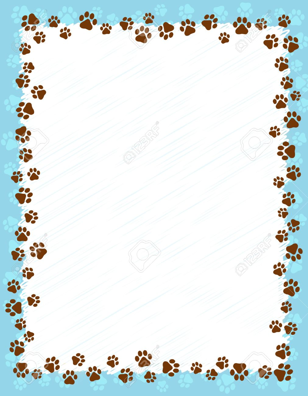 Dog Paw Prints Border Frame On Light Blue Grunge Background
