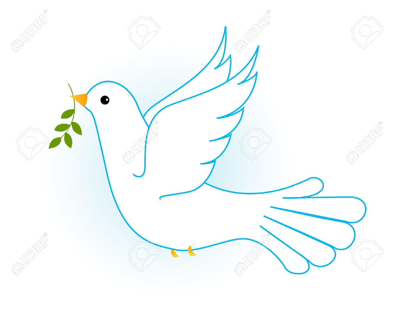 Illustration Of Flying White Pigeon Dove In Blue Sky With Some