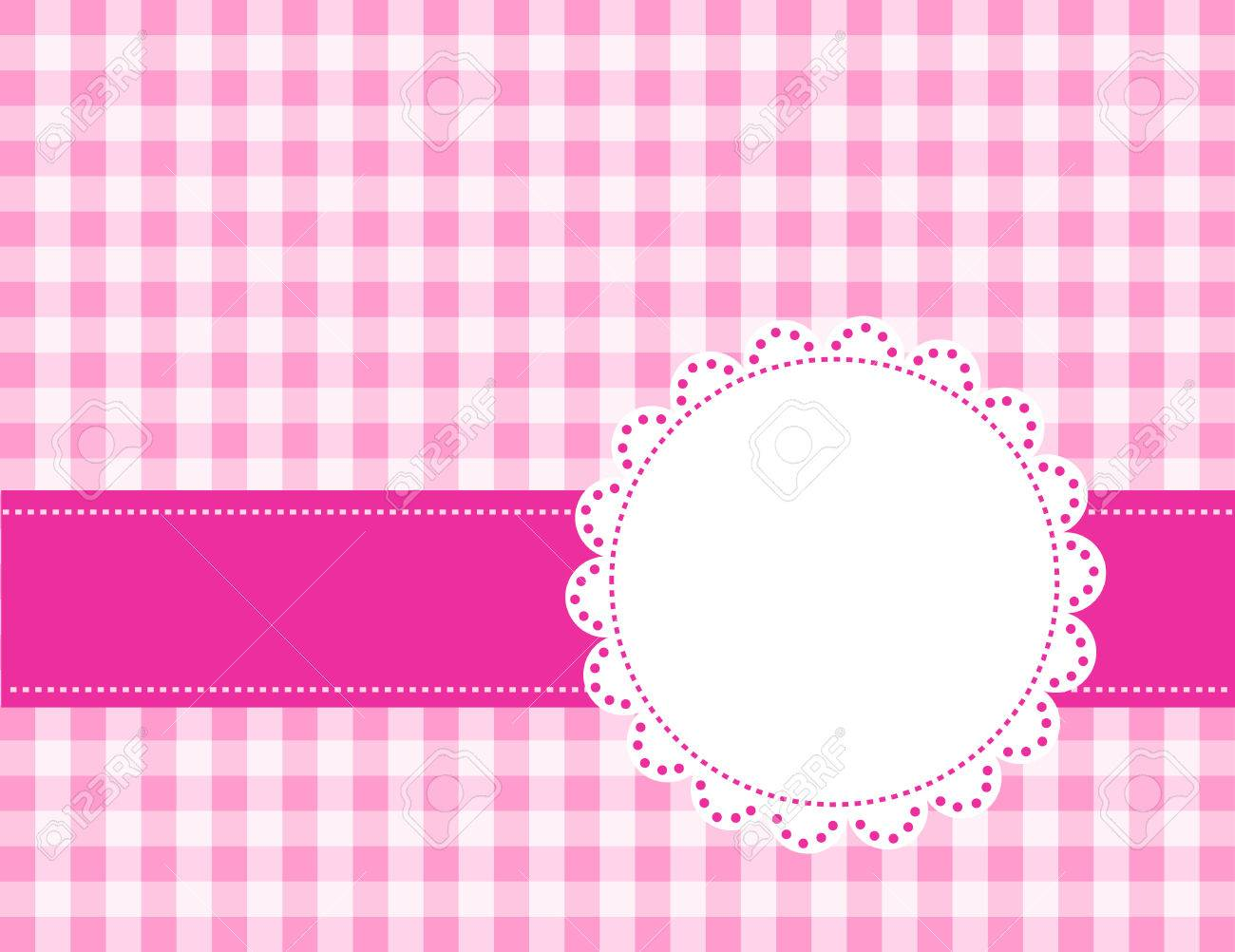 Cute Pink Gingham Pattern With A Lace Frame / Border Royalty Free ...