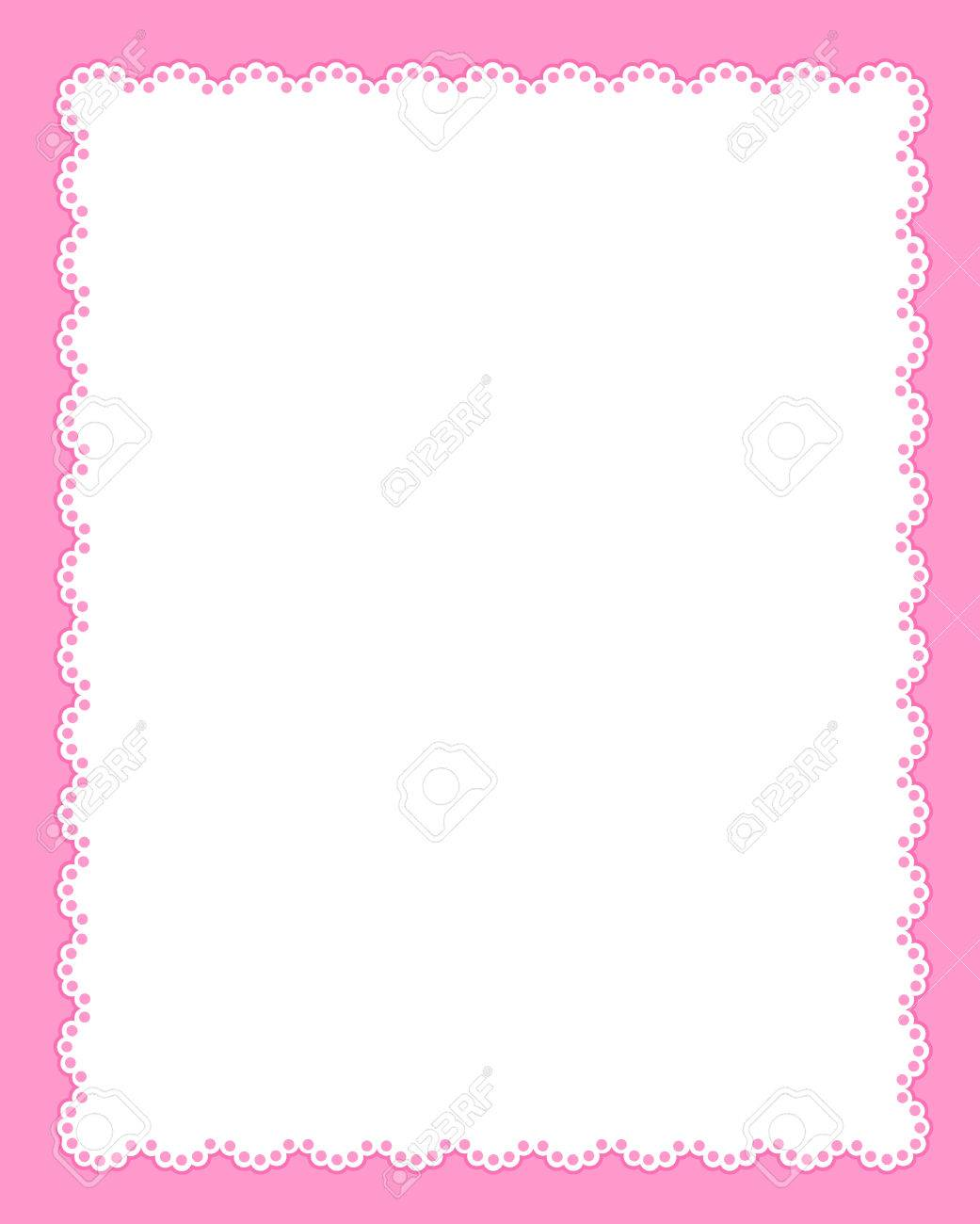 White Lace Background / Frame On Cute Pink Background Royalty Free ...