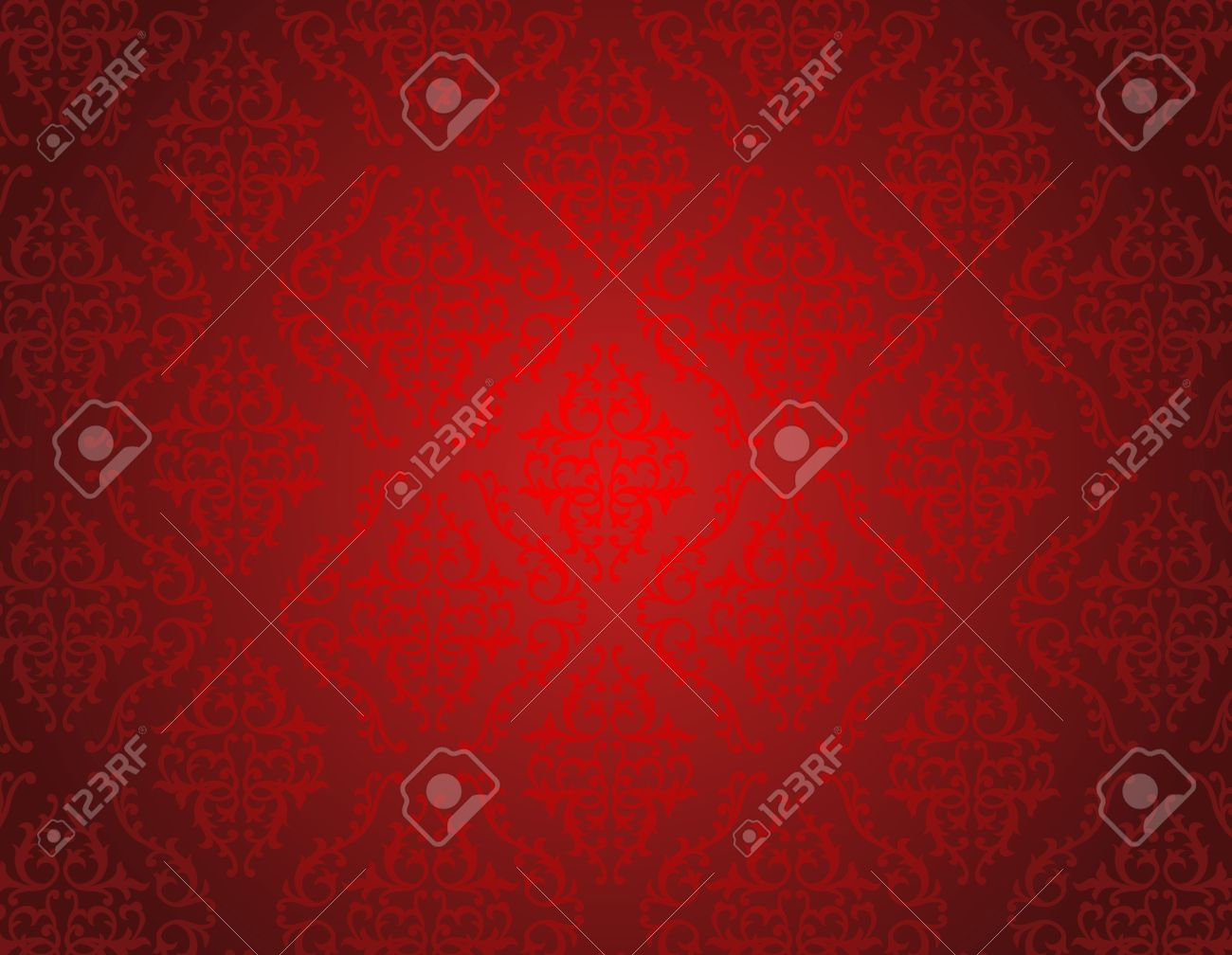 Elegant Red Shiny Damask Seamless Pattern Background Perfect