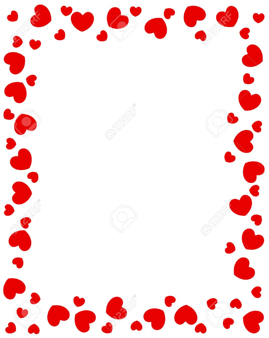 Red Hearts Border For Valentines Day Designs Royalty Free Cliparts