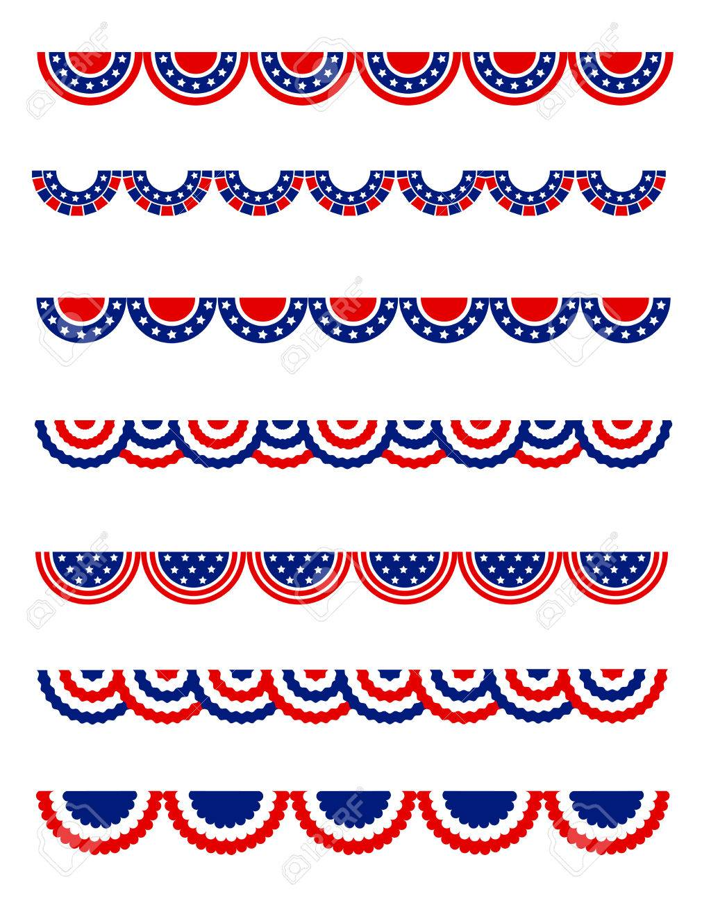 USA 4th Of July Patriotic , National Day Border / Frames / Bunting ...