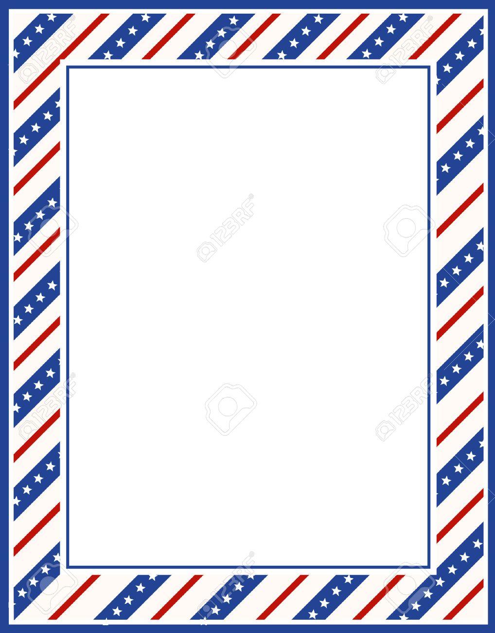 Azul Y Rojo Estrellas Patrióticas Y Rayas Página Frontera / Marco De ...