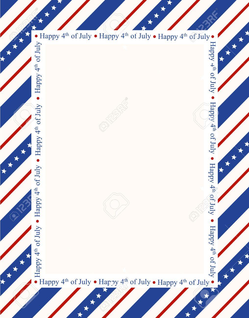 Diseño Del Marco Barras Y Estrellas Patrióticas Página Frontera Azul ...